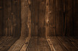 Grunge dark wood background wall and floor. wooden texture. surface, display backdrop, put product.