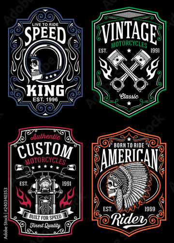 Cuadros en Lienzo Vintage Motorcycle T-shirt Graphic Collection