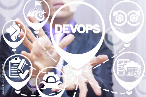 DevOps - development operations lifecycle of automation and monitoring at all steps of software construction. SEO Engineering Business Digital Innovation API concept.