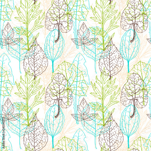 seamless vector pattern with leaves #240341372