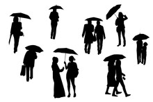 Silhouettes Of Walking People ...