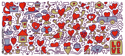 Photo Colored doodle Hearts