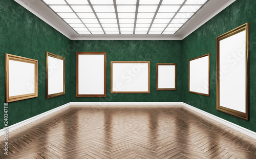 Fine Art Museum White Blank Canvases In Gorgeus Golden Frames Poster Artwork Paint Mock Up Template Сorner With Green Plaster Walls