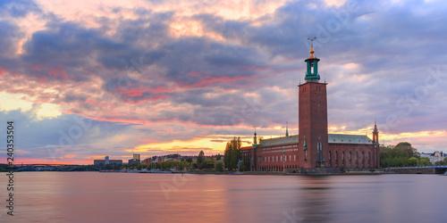 Foto auf AluDibond Stockholm City Hall at sunset, Stockholm, Sweden