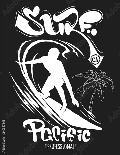 Photo Stands Dark grey Surf graphic. T-shirt Printing. Lettering Vector Design