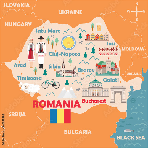 Obraz na plátně Stylized map of Romania