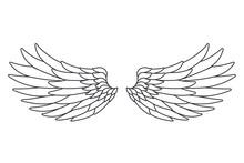 Line Art White Bird Angel Fly Wings Design Isolated Vector Illustration