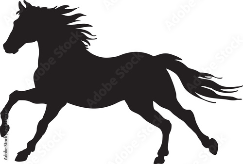 A silhouette of a running horse Canvas Print