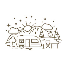 Cute Flat Line Icon Of Camp Tr...