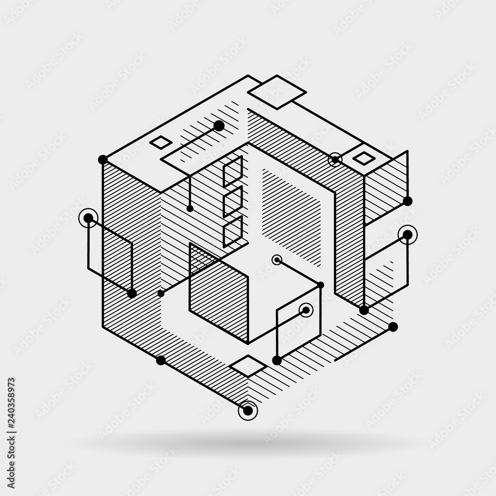 Fototapeta Abstract cubic lines elements technical 3D isometric background design vector illustration