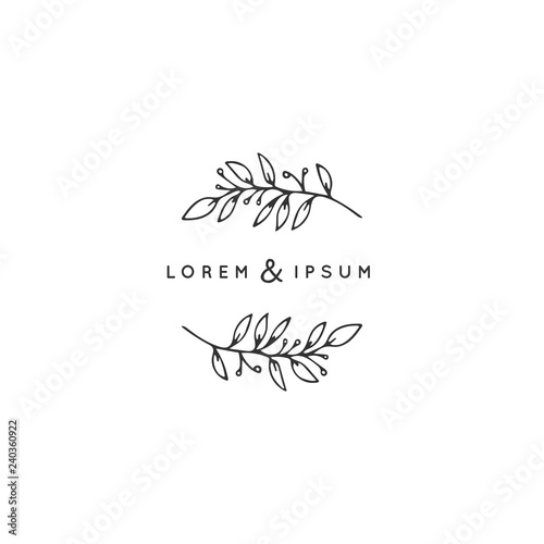 Vector hand drawn floral logo template in minimal style. Fototapeta