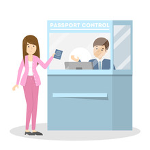 Woman Standing In The Airport At Passport Control.