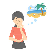 Woman Dream About Summer Vacation At The Ocean