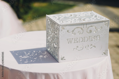 Stylish Modern Wedding Wooden Box For Giftsmoneypresentswish Card