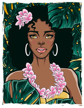 Beautiful Female In Yellow Bikini And Lei Flowers Garland. Vector Illustration Of A Pretty Lady With Green Exotic Rain-forest Background In Pop Art Style. T-shirt, Poster, Card Print.