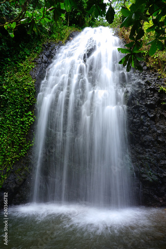 Stampa su Tela View of a cascading waterfall in Tahiti, French Polynesia
