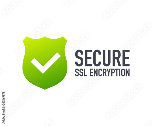 Fotografía  Secure connection icon vector illustration isolated on white background, flat style secured ssl shield symbols