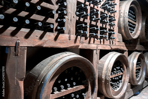 Bottles of wine in the cellar