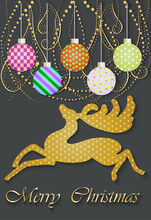 Art Background With Christmas Reindeer. Application Of Tissue. Vector Illustration. EPS 10