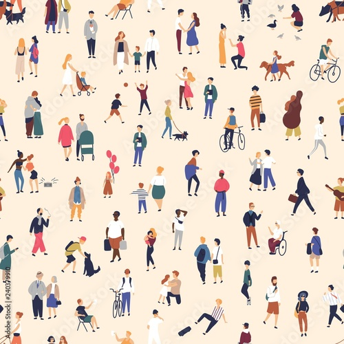 Photo sur Toile Artificiel Seamless pattern with tiny people walking on street. Backdrop with men, women and children performing outdoor activity. Colorful vector illustration in flat cartoon style for wallpaper, fabric print.