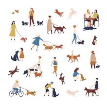Crowd Of Tiny People Walking Their Dogs On Street. Group Of Men And Women With Pets Or Domestic Animals Performing Outdoor Activities Isolated On White Background. Vector Illustration In Flat Style.