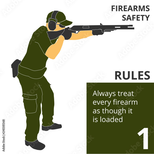 Cuadros en Lienzo The firearm shooting safety rules and signs