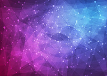 Blue Purple Abstract Low Poly Technology Background