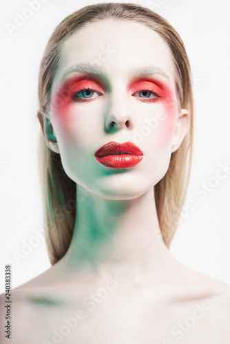 Tuinposter womenART Sexy nude lady with colorful lipstick and artistic makeup