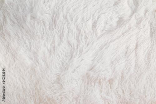 Fotografiet  White flufy textile close-up.