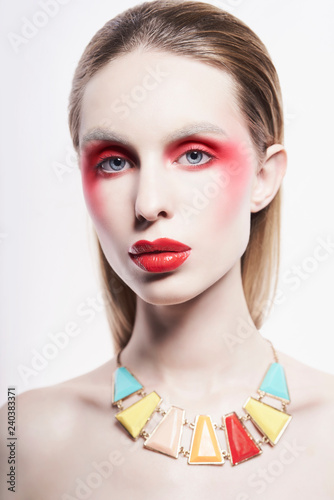 Deurstickers womenART Sexy nude lady in colorful neacklace and artistic makeup