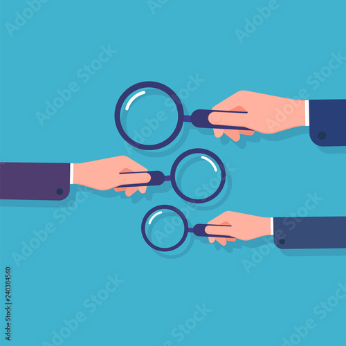 Obraz Hands holding magnifying glass. Information searching, business data research and detective. Cartoon vector concept with magnifier. Illustration of lens glass, research data info - fototapety do salonu