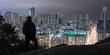Man enjoying night view of Hong Kong from Garden Hill 香港の夜景を嘉頓山から観る男性