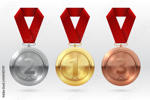 Obraz Sports medals. Golden silver bronze medal with red ribbon. Champion winner awards of honor vector isolated template. Illustration of championship trophy, champion medal of set - fototapety do salonu