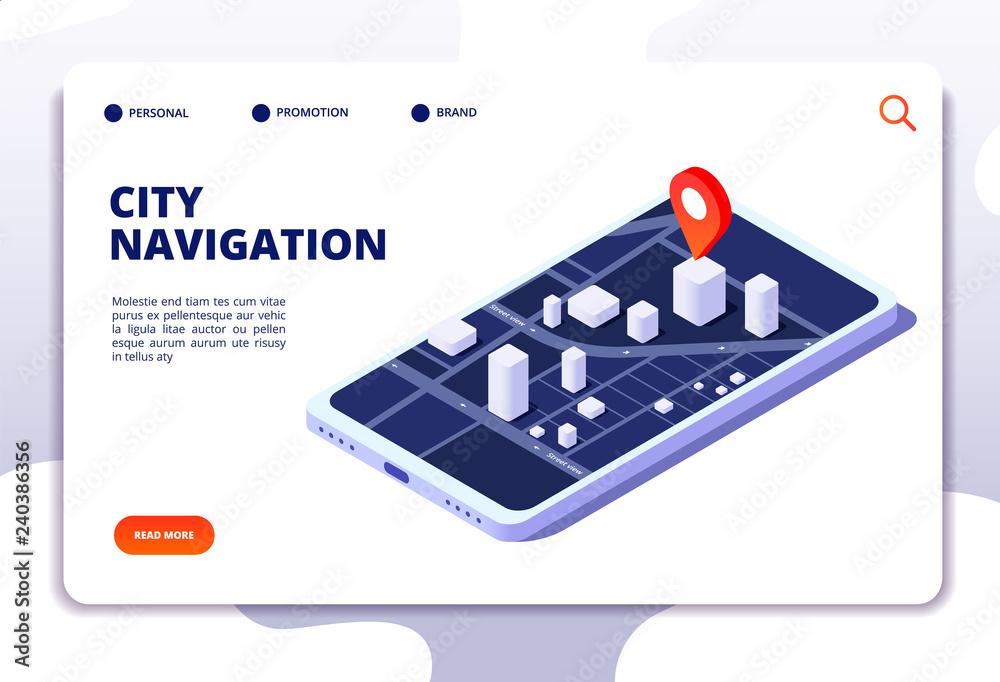 Fototapeta Navigation map isometric concept. Gps location system. Phone tracker with global positioning. Vector landing page navigation gps system, city street on mobile screen illustration