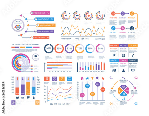 Fototapeta Infographic dashboard. Ui interface, information panel with finance graphs, pie chart and comparison diagrams. Vector budget report. Illustration of infographic business, graph and diagram planning obraz