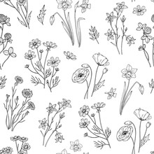 Wild Flower Pattern. Floral Seamless Wallpaper With Wildflowers. Vintage Fabric Vector Background. Illustration Of Seamless Pattern Wild Flower Summer