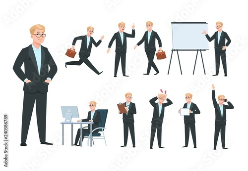 Business Person Businessman Character Professional Worker In Different Office Business Activity Cartoon Isolated Vector Collection Illustration Of Businessman Professional Worker Business Manager Buy This Stock Vector And Explore Similar Vectors At