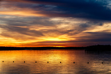Sunset On A Lake In Oklahoma.