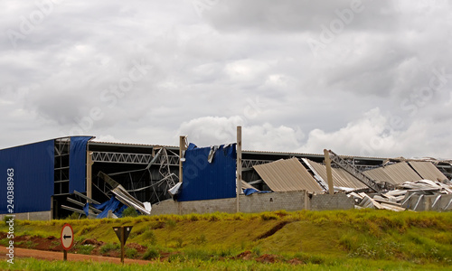 Metal structure destroyed after a storm               #240388963