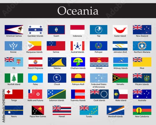 Photo Flags of Oceania, all countries in original colors.
