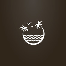 White Sign On A Black Background. Vector Sign Of Two Palm Trees Leaning Over The Sea Waves