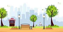 Summer Park. Public Park In The City With Street Cafe, Fast Food Restaurant Against High-rise Buildings Silhouette. Landscape With Cyclist,trees, Lights, Wood Benches. Flat Cartoon Vector Illustration