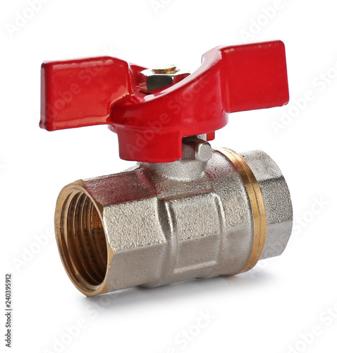 Photo  New valve on white background. Plumber's supply