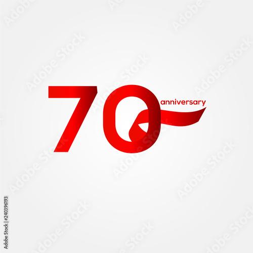 70 Year Anniversary Vector Template Design Illustration Tableau sur Toile
