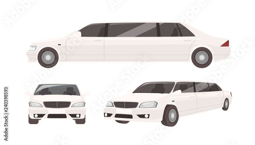 Photographie Luxurious limousine or limo isolated on white background