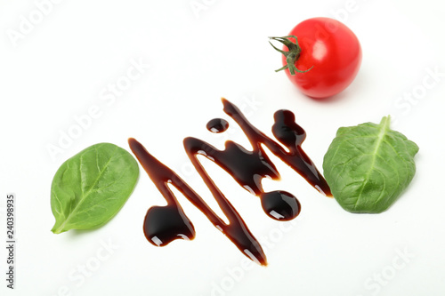 Composition with balsamic vinegar isolated on white