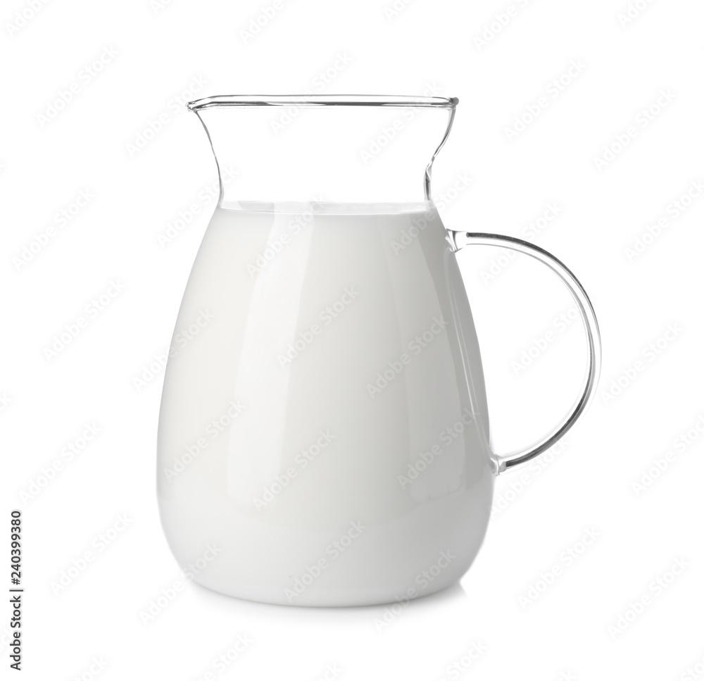 Fototapety, obrazy: Jug with fresh milk on white background