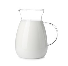 Jug With Fresh Milk On White B...