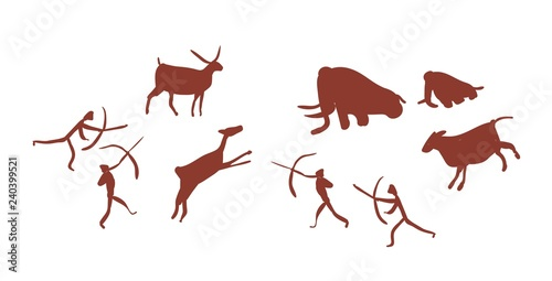 Photo Parietal art or cave painting depicting group or tribe of Stone age people or hunters hunting deers and mammoths