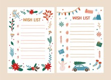 Bundle Of Wish List Templates Decorated By Traditional Seasonal Christmas Decorations - Snowman, Garland, Holly Berries And Leaves. Card With Desired Gifts. Festive Vector Illustration In Flat Style.